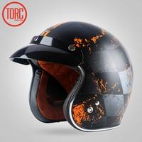 Free Shipping Motorcycle Helmet Jet Helmet Vintage Helmet Open Face Retro 3 4 Half Helmet TORC