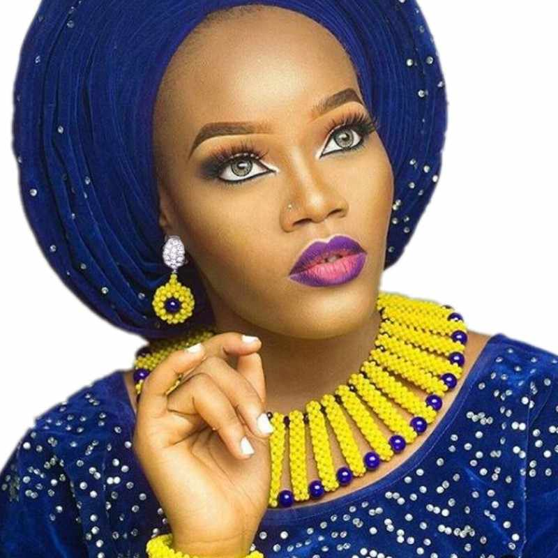 Dudo Nigerian Beads Necklace Jewelry Set for Weddings Yellow Royal Blue Indian Jewelry Set for Women 2018 Free Ship Bridal Set
