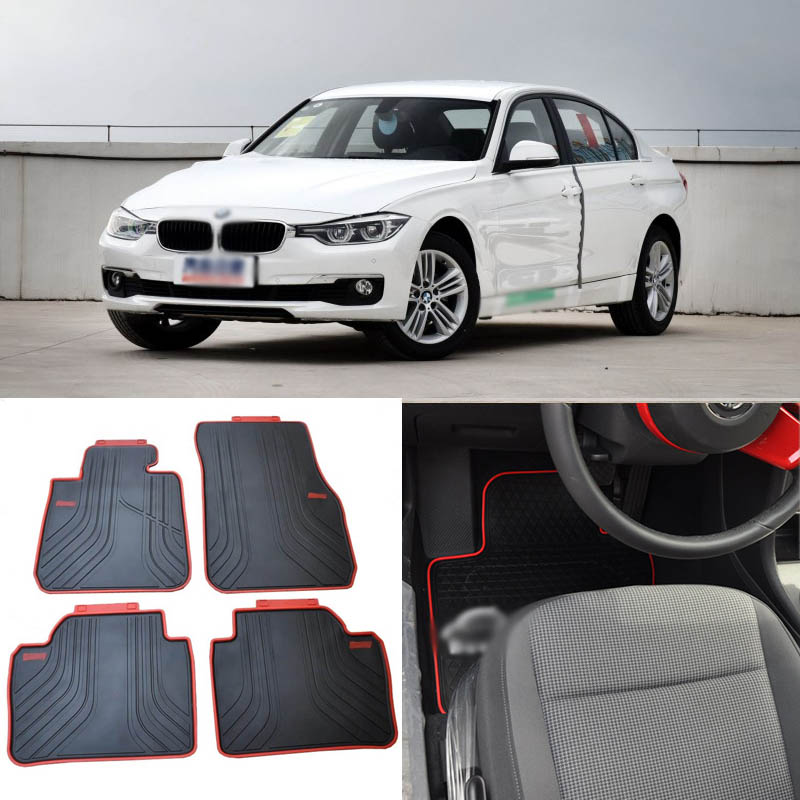 High Quality Full Set All Weather Heavy Duty Black Rubber Floor Mats For Bmw 3 Series 2012 2017
