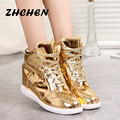 Women Shoes New 2016 Spring Leather Casual Shoes Women Height Increasing Fashion Shoes Gold Silver Lace-Up Flat Shoes