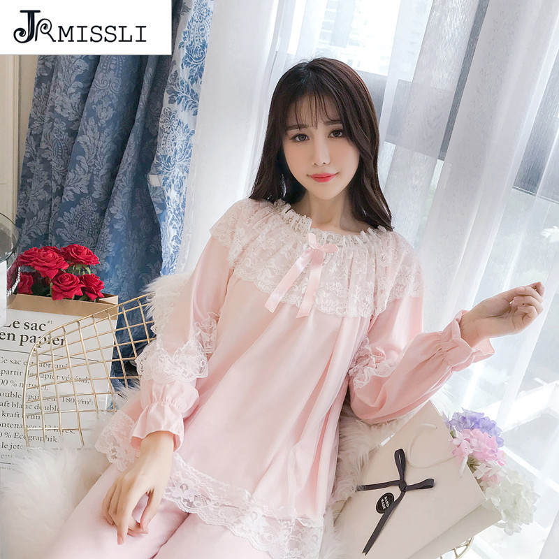 JRMISSLI Lace Priness Autumn Spring Cotton Pyjamas Women   Pajama     Sets   Sleepwear   Pajamas   for Long-Sleeved Nightwear   Sets