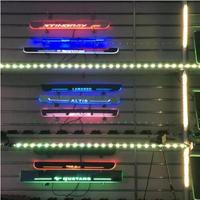 Qirun customized led moving door scuff plate sill overlays linings threshold welcome decorative lamp for Audi 100 200 Quattro