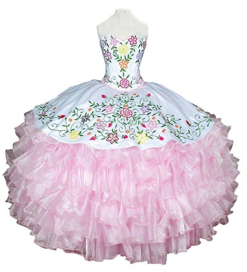 Bealegantom 2018 White P Ball Gown Quinceanera Dresses Embroidery Sweet 16 Dress Vestidos De 15 Anos QA1539