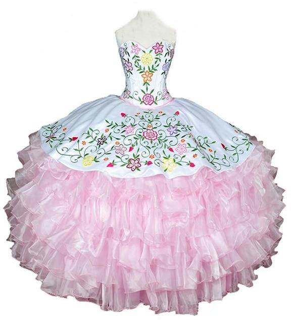 b123c043e Bealegantom 2018 White P Ball Gown Quinceanera Dresses Embroidery Sweet 16  Dress Vestidos De 15 Anos QA1539