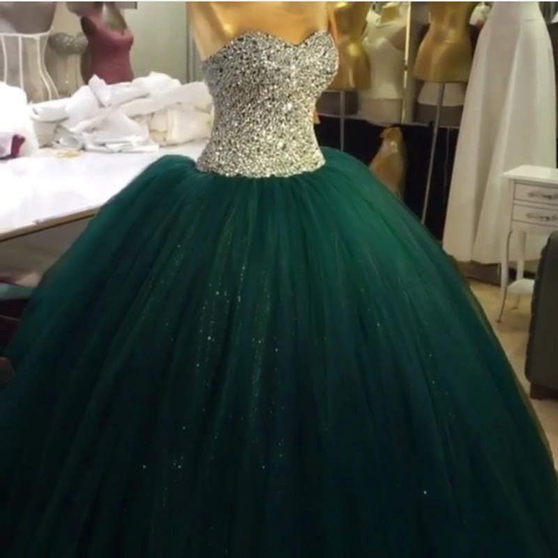 6e3c6d395ab Gorgeous Sweetheart Beaded Ball Gown Emerald Green Quinceanera Dresses 2017  Sparkly Sleeveless Puffy Tulle Long Sweet 16 Dress