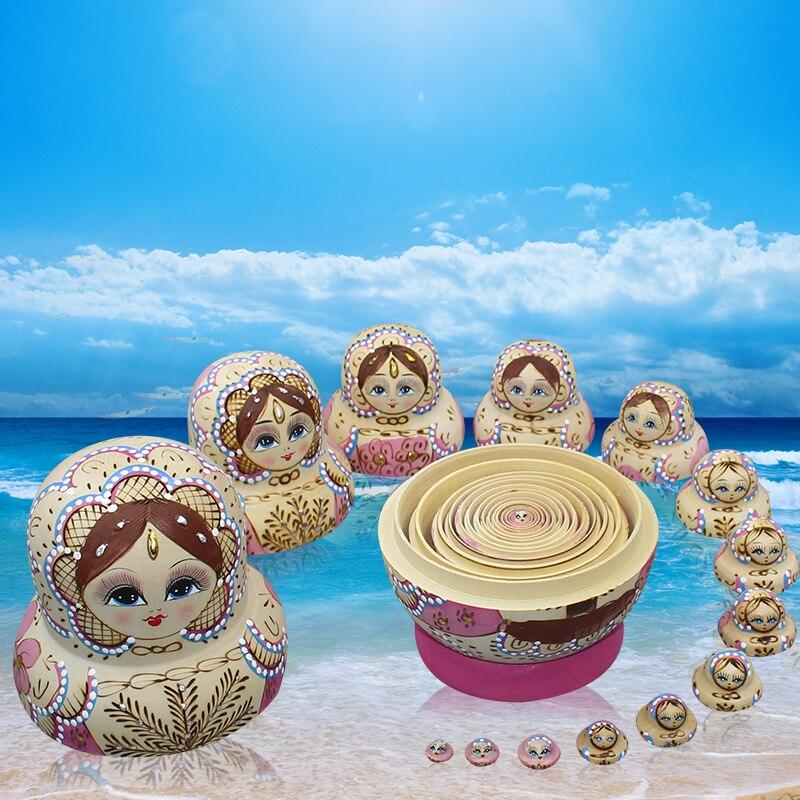 15 pièces/ensemble Matryoshka poupée peinte à la main russe nid poupée en bois jouets artisanat éducation jouets bébé anniversaire enfants - 4