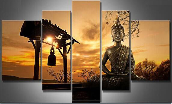 5 piece no frame beautiful sunsuet buddha portrait scenery oil paintings by number 100