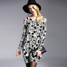 Simple Lovely Mouse Printing Women Sweater High Quality Wool Blend Warm Knitwear Slash Neck Batwing Sleeves Casual Tops