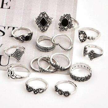 15 Pcs/set Bohemian Retro Crystal Flower Leaves Hollow Lotus Gem Silver Ring Set Women Wedding Anniversary Gift 4
