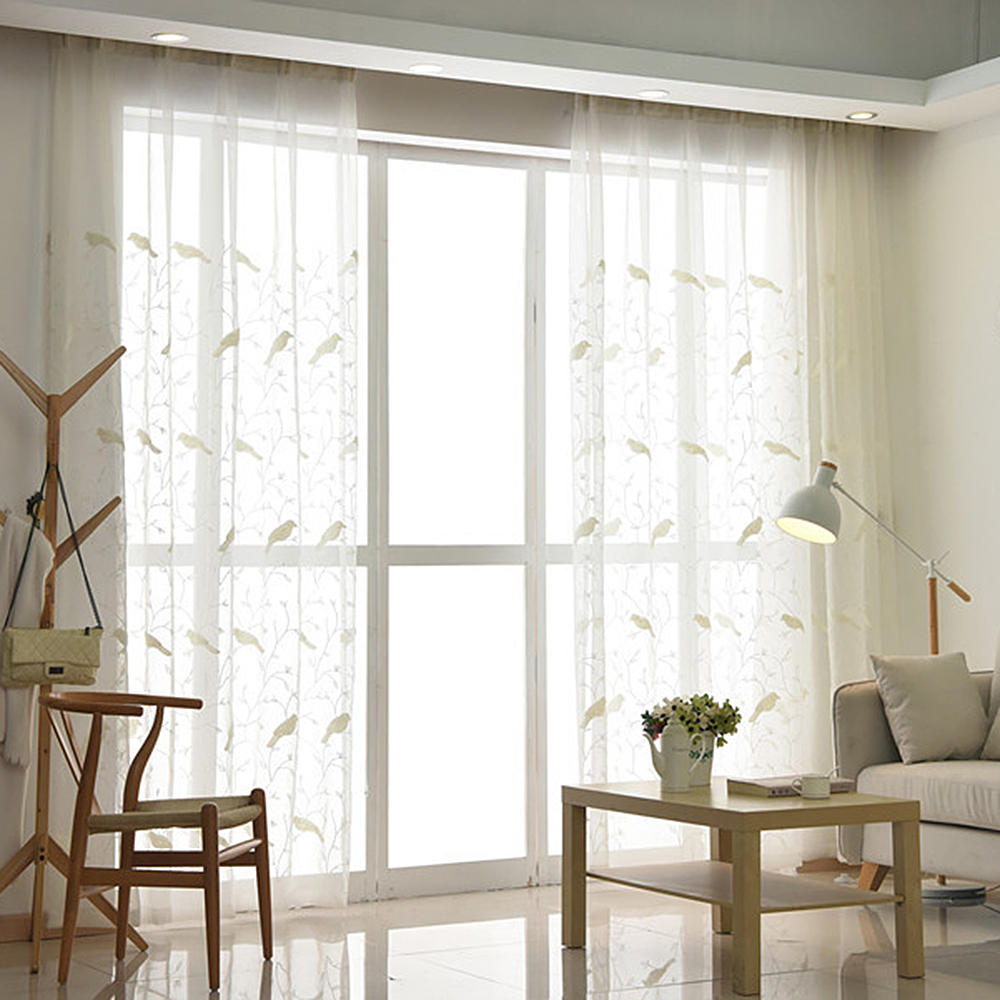 3D White Embroidered Bird Tulle Curtains For Living Room Transparent ...