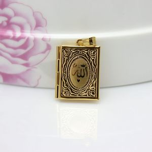 Image 3 - Fashion New Gold Color Islam Allah Muslim Necklace Quran Koran Book Loket Box Pendant With Chain Muhammad Religion Jewelry Gift