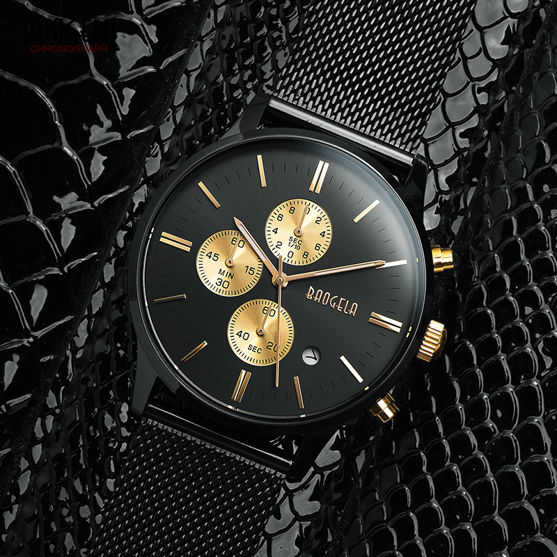 Baogela Mens Chronograph Black Stainless Steel Mesh Strap Military font b Sport b font Quartz Wrist