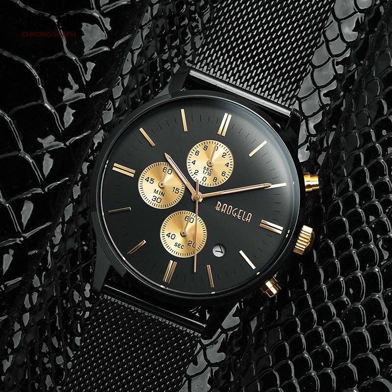 Baogela Mens cronógrafo negro Acero inoxidable correa de malla Deporte Militar relojes de cuarzo con las manos luminosas 1611G