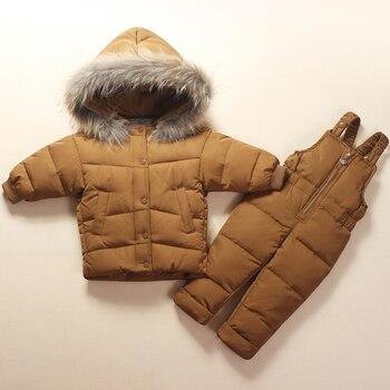 2018 Baby Mädchen Jungen Winter Kleidung Sets Winddicht Infant Anzüge Unten Dicke Jacke Mantel + Ski Hosen Kinder Kinder Anzüge
