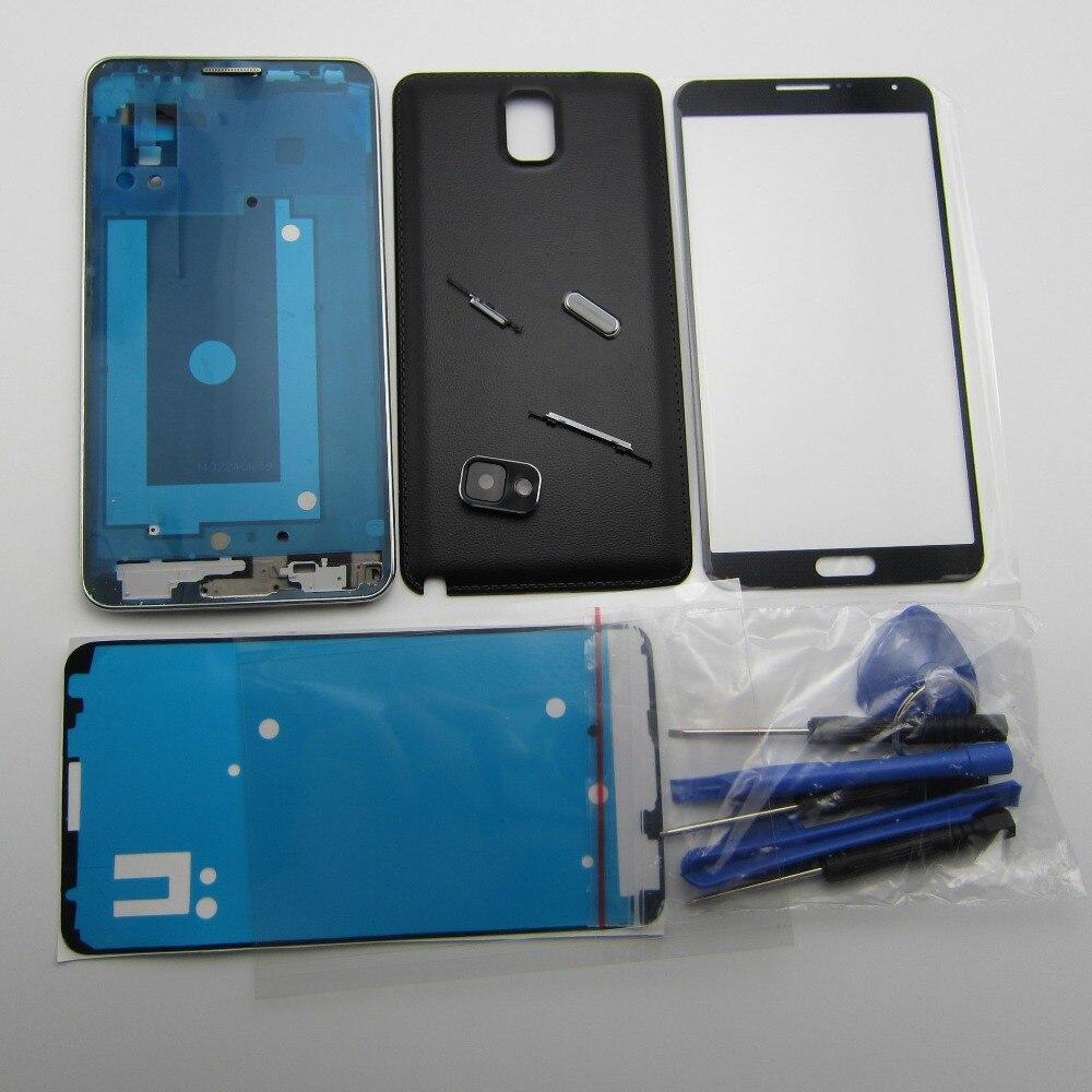 Volle Gehäuse Fall Für Samsung Galaxy Note 3 N9005 N900 Vorne LCD Rahmen + Zurück abdeckung + Äußere glas + kamera objektiv + kleber + taste + OCA