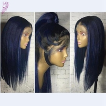 Brazilian lace front wigs virgin glueless full lace human hair wig with baby hair 1b/blue ombre u part wig for white/black women