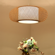 Japanese Style Led Chandelier  Wooden Pendant Lamps Round Bamboo Bedroom Dining Room Lighting Fixture Hotel Bar Deco Luminaires