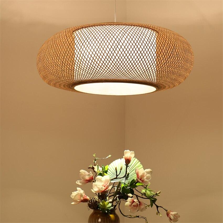 Style japonais Led lustre en bois lampes suspendues rond bambou chambre salle à manger luminaire hôtel Bar déco Luminaires