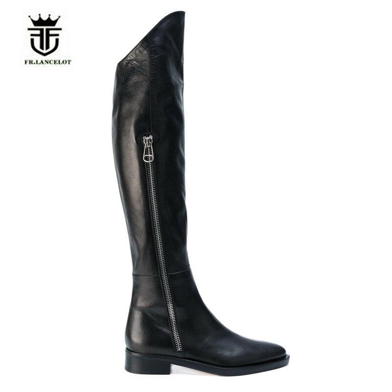 FR cuero genuino lujo rodilla alta cuña hecha a mano cremallera lateral hombres Caballero botas puntiagudas altas botas imagen Real-in Botas básicas from zapatos    1