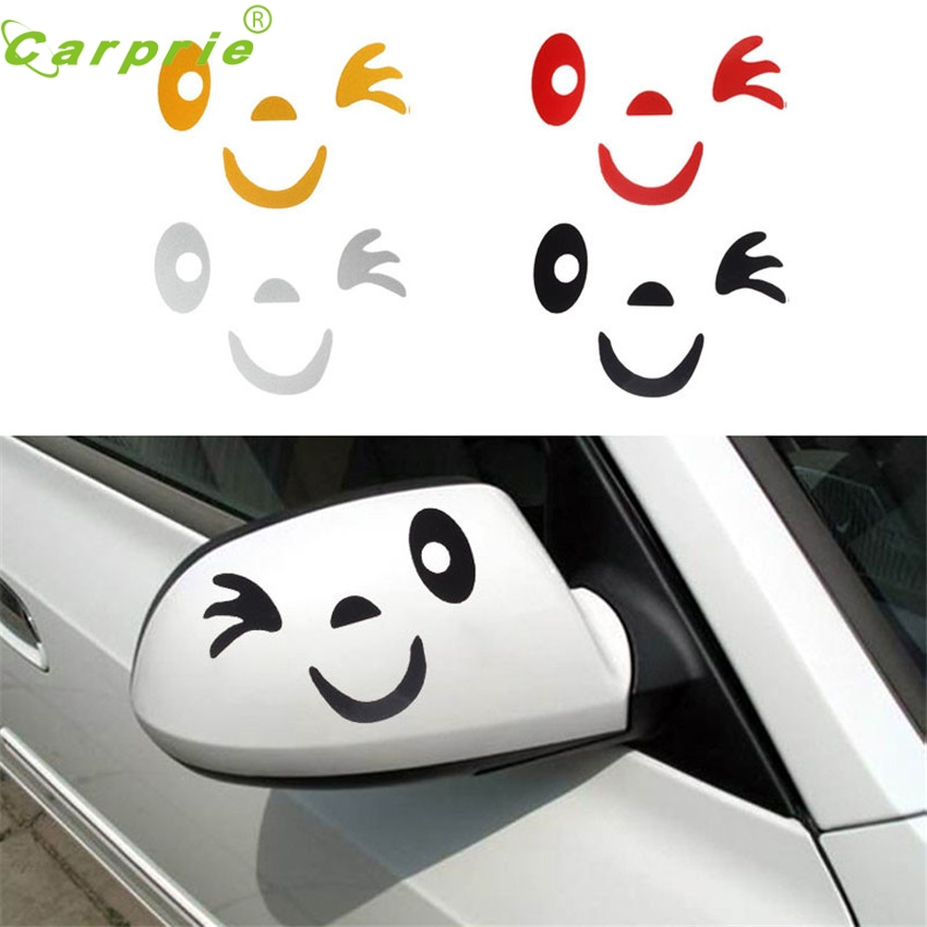 Dependable  Smile Face Design 3D Decoration Sticker For Car Side Mirror Rearview Ma18 dropshipping Sep5
