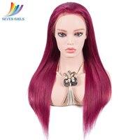 Sevengirls прямой красный цвет 360 синтетический Frontal шнурка волос Парик 180% 150% Плотность Малайзии натуральные волосы 360 кружево парик с ребенком в