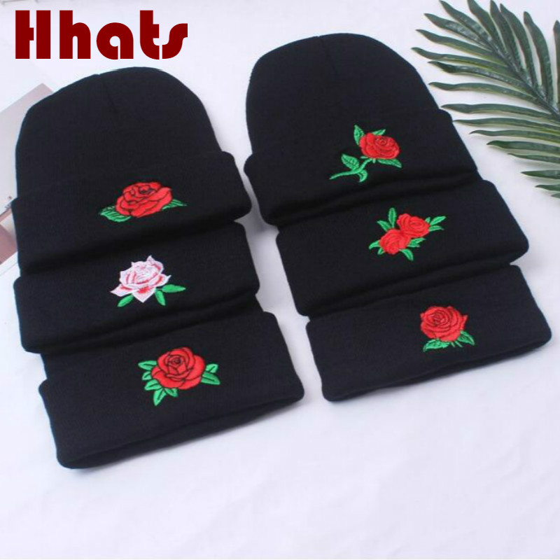 black embroidery rose autumn skullies beanie women stitched flower spring knitted hat cap female fashion floral bonnet turban