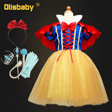 цена на Children Girls Clothing Snow White Princess Dress Halloween Cosplay Costume Baby Girl Tutu Birthday Party Ball Gown Kids Clothes