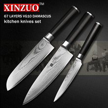 XINZUO 3 pcs kitchen knife set utility Damascus Chef knife Japanese VG10 steel Kitchen Knife sharp santoku knife free shipping