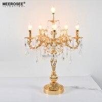 Французская винтажная Хрустальная Изысканная настольная лампа бронзового цвета настольная осветительная лампа E14 лампы для гостиной спал