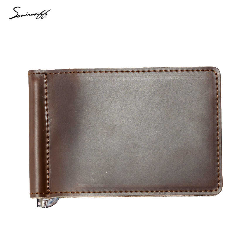 SMIRNOFF Men Purse Money Clip with Metal Clamp Genuine Leather Wallet 2 Folded Open Clamp for Money Rouble Note Wallet Male