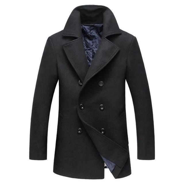 2018 Autumn New Long Excellent Quality Pea Coat Men Slim Turn Down Collar Laine Manteau Double Boutonnage 3
