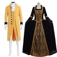 Мария Антуанетта барокко средневековой аристократ Готический Британский мужской костюм Для женщин барокко рококо платье пары Свадебный к
