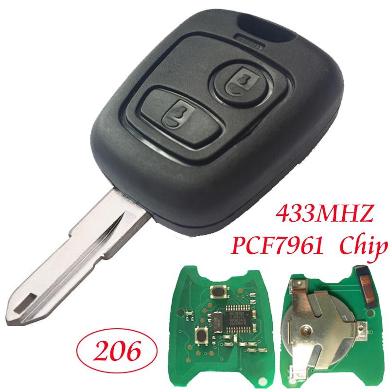 Pliable 2 Boutons cl/és de Voiture Shell Romote cl/és de Voiture Flip Case Remplacement Case cl/é Pliable Car Cover Key No Chip pour Peugeot 207 307 308 CE0536