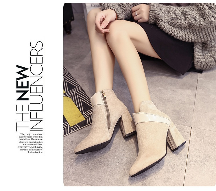 High heels shoes women autumn winter sexy pointed toe ankle boots ladies retro chunky heels short boots botas mujer beige black 61