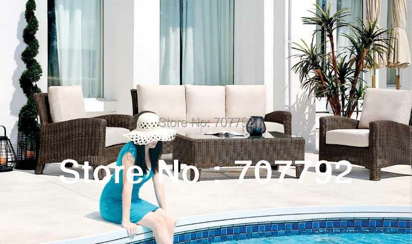 Neue Kollektion Schwimmbad Seitliche Polyrattan Sitz Sofa Setchina