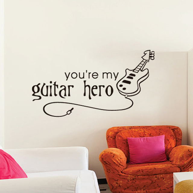 Free Shipping Korean You Are My Guitar Hero Letter Music Wall Stickers For  White Wall Decor