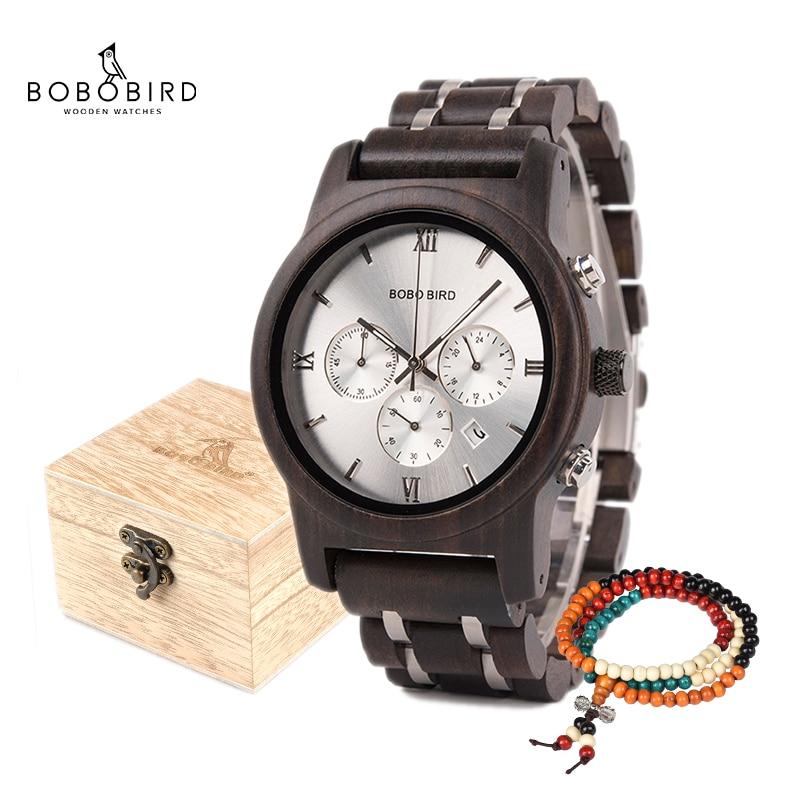 BOBO BIRD Wooden Men Watch Wooden Stainless Steel Date Quartz Chronograph Watches Luxury Men's Gift Timepieces Relogio Masculino