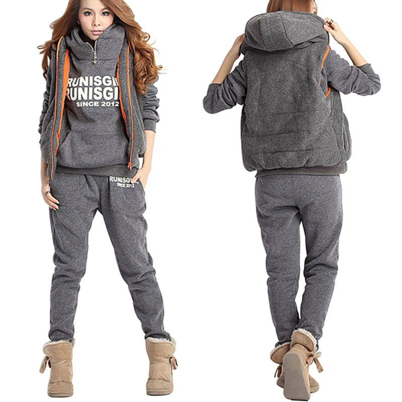 Autumn Winter Letter Fleece Tracksuit Turtleneck Sweatshirts Casual Women Clothing 3 Piece Set Pant +Hoodies+Vest Sporting Suit