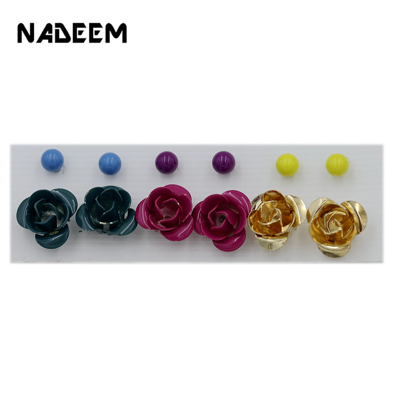 Vintage 6Pcs/Sets Mixed Color Stud Earring Set Mix Paint Flower Stud Earring Sets Jewelry For Women Girl Wholesale