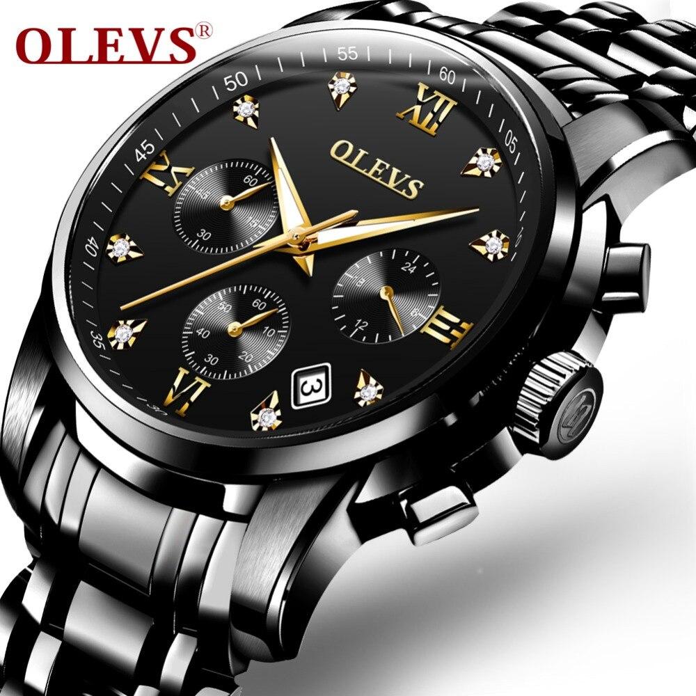 6c12092d39a OLEVS relógios dos homens top marca de luxo Relógio Cronógrafo Homens  Esportes Relógio de Pulso de Quartzo de Aço À Prova D  Água relogio  masculino 2017 ...