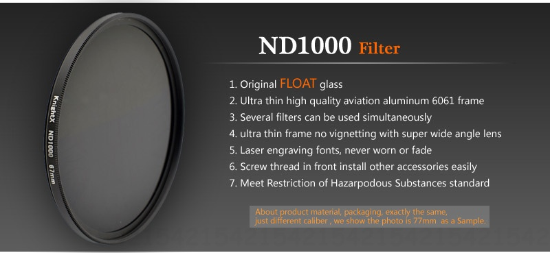 KnightX ND1000 ND Camera Lens Filter For canon nikon photo dslr accessories set light photography kit photo set 52mm 58mm 67mm 9