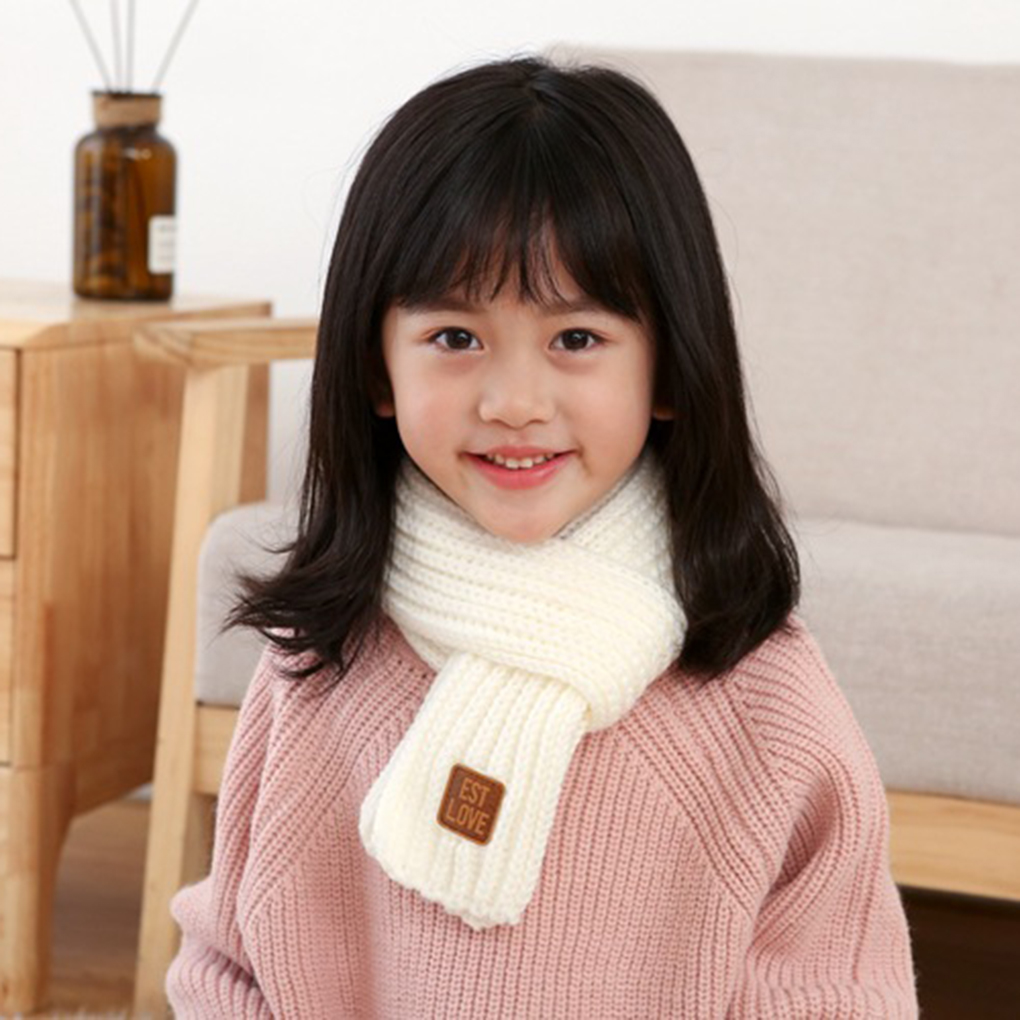 Kids Scarves,Autumn Winter Wool Knit Scarf Warm Solid Color Neck Warmer