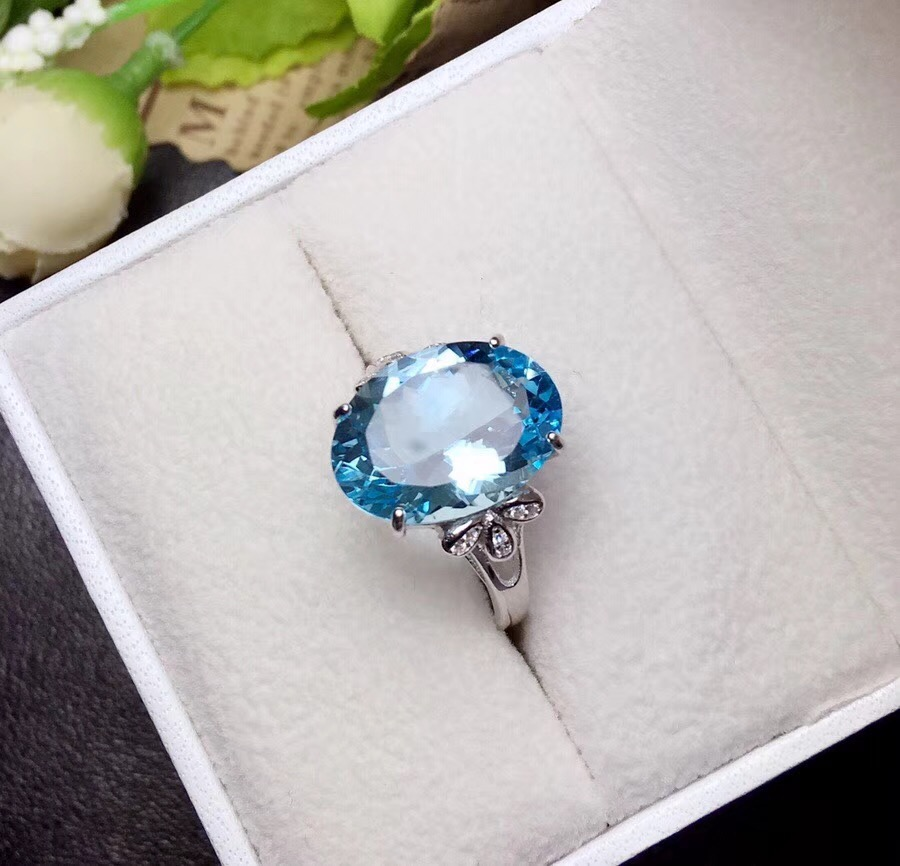 Uloveido Natural Blue Topaz Ring 10 Carat Gems 925 Sterling Silver Birthstone Rings Wedding Promise Jewellery