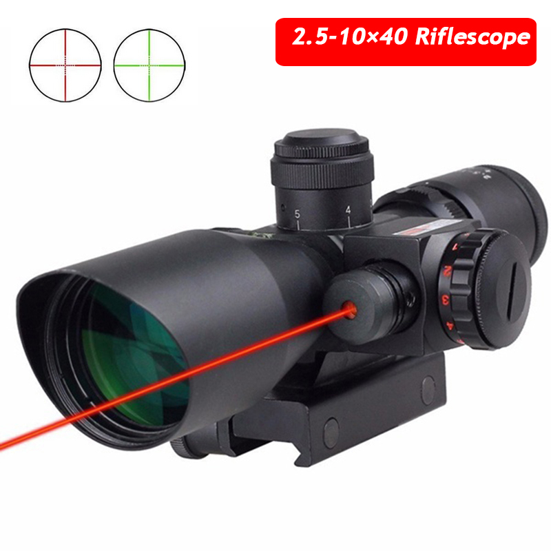 Tactical 2.5-10 x 40 Red Laser Riflescopes Sniper Hunting Optics Laser RifleScope Red Green Reticle 20mm Or 11mm Rail tactical riflescope 2 5 10 x 40 red laser sight scope outdoor shooting hunting optics reticle scope rifle 11mm or 20mm rail