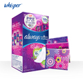 Whisper always RADIANT Colorful Women Pads Ultra Thin FLEXFOAM Dry Surface Sanitary Napkin 270mm Day/night use 28pads=1box