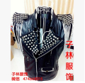 Free shipping !!! 2015 Rock guest DJ Bar nightclub singer DS stage costumes rivet punk leather motorcycle jacket men
