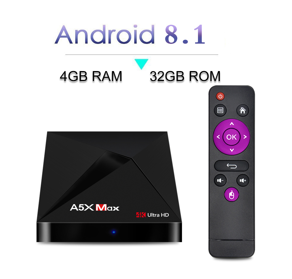 A5X MAX Android 8.1 TV Box 4GB 32GB Smart Android TV BOX RK3328 Quad-Core 2.4G/5G WiFi Bluetooth 4.0 HDMI 2.0 4K Media Player new style a5x plus 8 second boot android 7 1 tv box rk3328 quad core 1gb 8gb smart mini media player 2 4g wifi 4k
