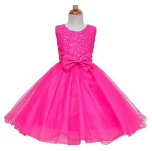 free delivery Princess Girl Dress 2017 fashion Baby Girls Lace Sequins Tulle Flower Party Dress Gown Formal Wedding kids Dresses