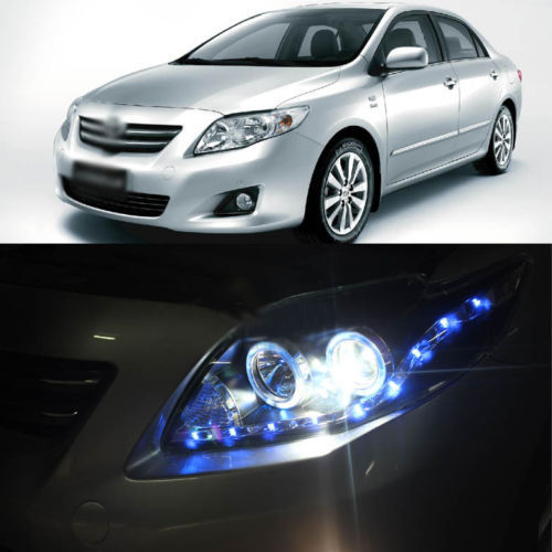 Ownsun New Blue LED DRL Angel Eye Projector Lens Headlight for Toyota Corolla 08-10 ownsun new style tear drop led projector lens headlight for new ford focus 2012 2013