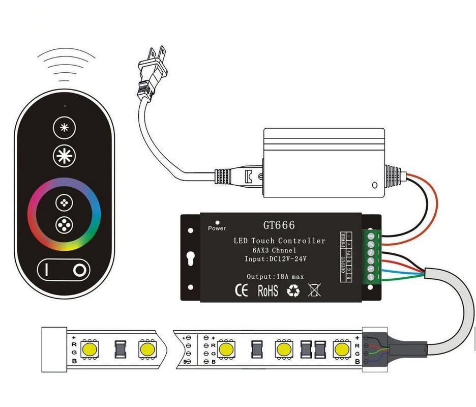 DC12V-24V 6Ax3channel 18A RF Controlador inalámbrico táctil RGB - Accesorios iluminación - foto 3